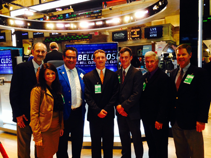 The 2012 class of Farm Credit Scholars at the New York Stock Exchange.