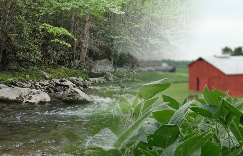 Scenery with a creek and a red barn