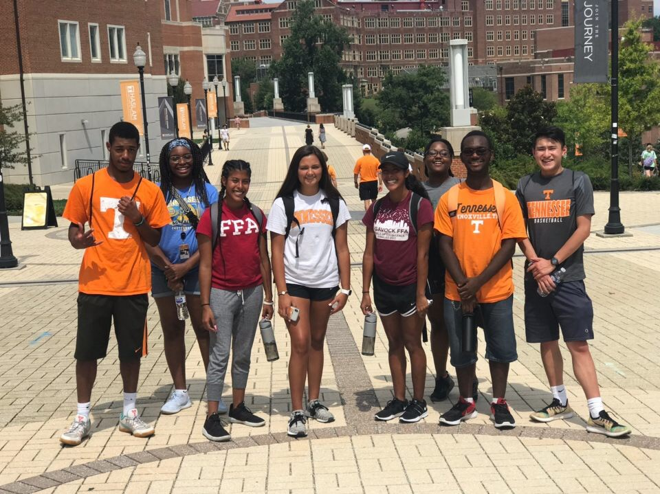 Herbert College COnnection student taking their first tour on UTK Campus.