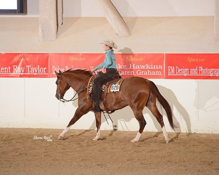 Delaney Rostad riding horseback.