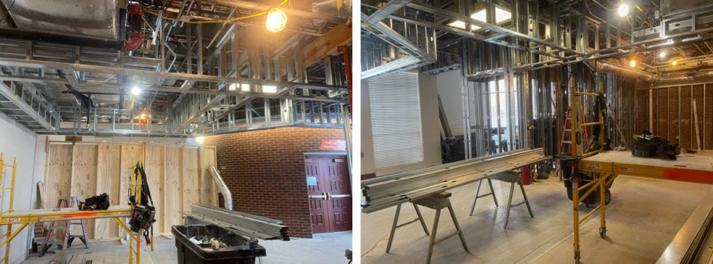 A collage of construction progress photos from inside the UT Creamery site.