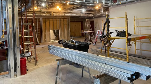 Interior construction is underway at the site of the new UT Creamery.
