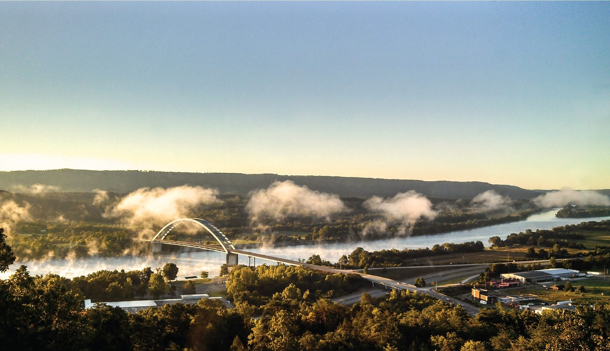 Aerial view of the Tennessee River from South Pittsburgh, Tennessee.